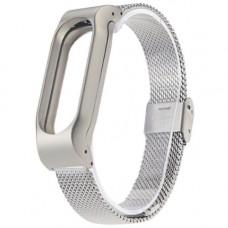 Металлический ремешок для фитнес браслета Xiaomi Mi Band 2 (Серый)