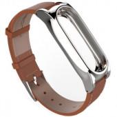 Кожаный ремешок для фитнес браслета Xiaomi Mi band 2 (коричневый)